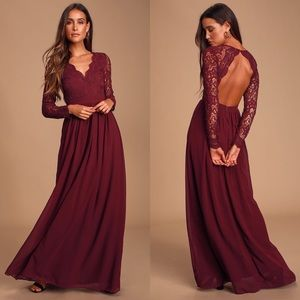 Burgundy Long Sleeve Lace Maxi Dress